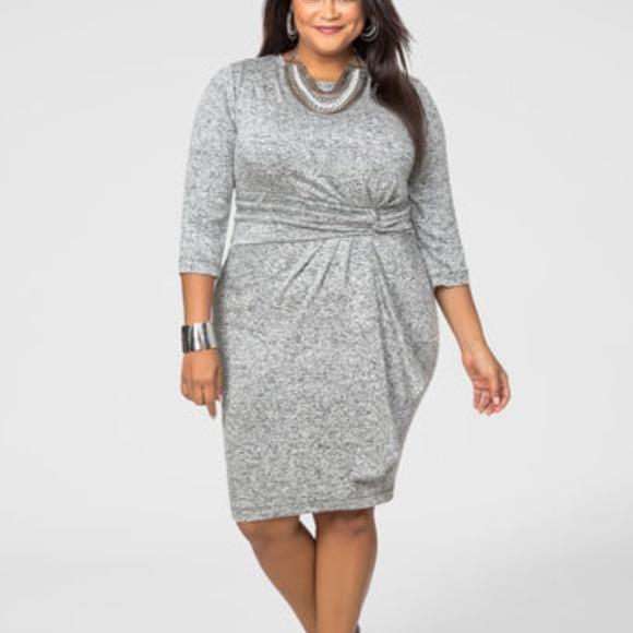 Ashley Stewart Dresses Ruffle Front Marled Sweater Dress Poshmark